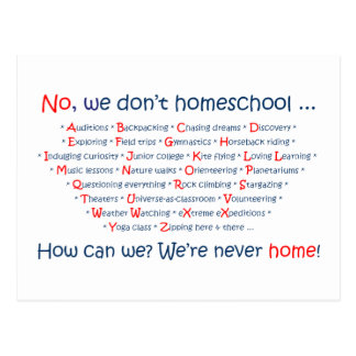 We Don't Homeschool Postcard