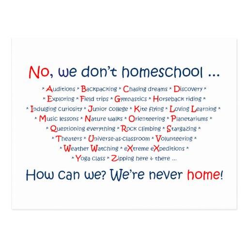 We Don't Homeschool Postcard