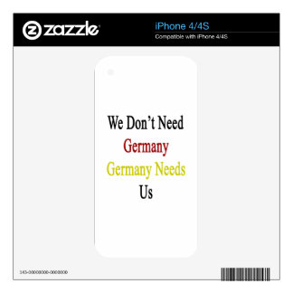 We Don't Need Germany Germany Needs Us iPhone 4 Decals