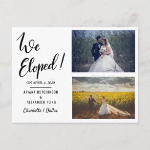 We Eloped Handwritten Casual Two Wedding Photo Announcement Postcard