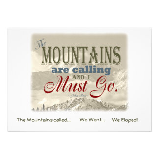 We Eloped in Mountains Vintage Muir-Mtns Called Personalized Invitations