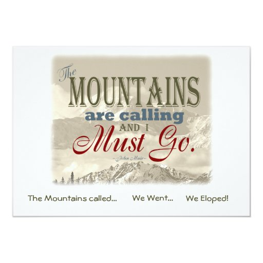 We Eloped in Mountains Vintage; Muir-Mtns Called 5x7 Paper Invitation ...