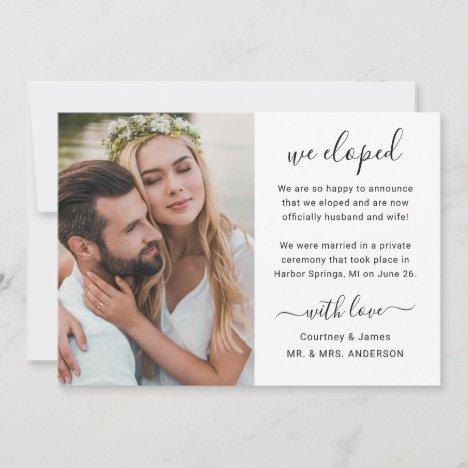 We Eloped Minimalistic Script Custom Photo Wedding Announcement