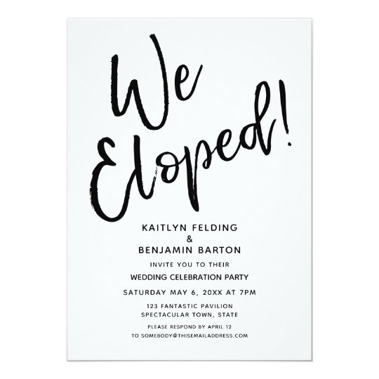 We Eloped Modern Casual Post Wedding Celebration Invitation