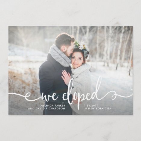 We Eloped   Modern Rustic Photo Announcement