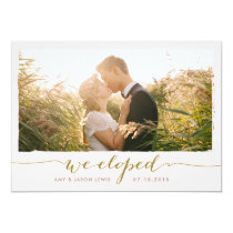We Eloped | photo wedding announcement, faux gold Invitation