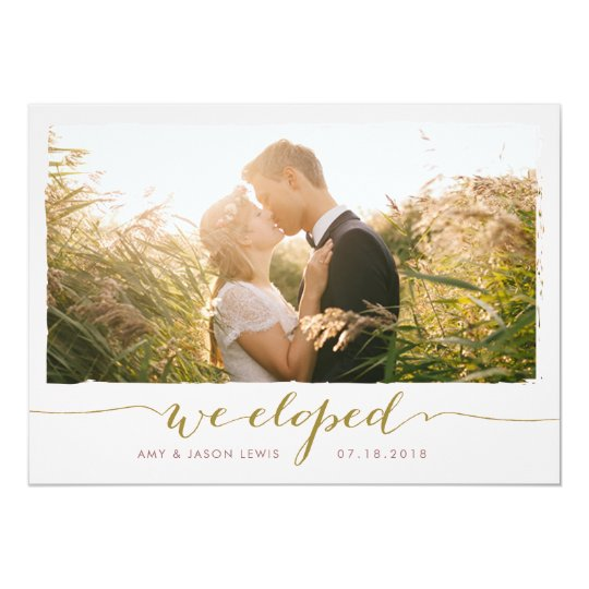 We Eloped Photo Wedding Announcement Faux Gold Invitation