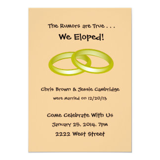 We Eloped! post wedding party invitation