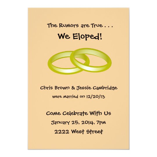 We Eloped Post Wedding Party Invitation