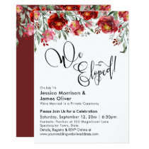 We Eloped Typography Burgundy Red Flowers Invitation