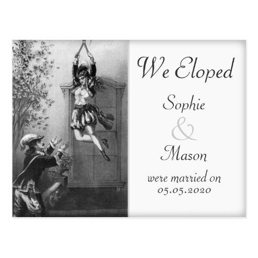 Wedding Gifts For Couples Who Eloped : We ElopedWedding Announcement Vintage Theme Postcard Zazzle