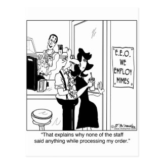 We Employ Mimes Postcard