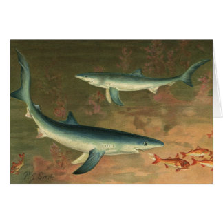 We Fish You A Merry Christmas, Vintage Blue Sharks Card