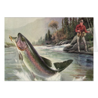 We Fish You A Merry Christmas, Vintage River Trout Card