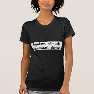 We give to necessity the praise of virtue. T-Shirt