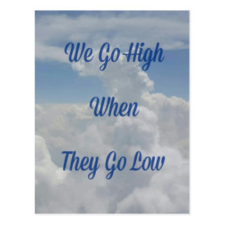 'We Go High' Quote Unusual Cloud Formation Postcard