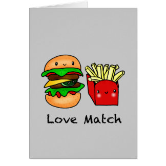 We go together like burger and fries personalized card