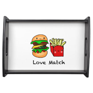 We go together like burger and fries personalized serving tray