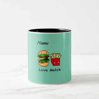 We go together like burger and fries personalized Two-Tone coffee mug