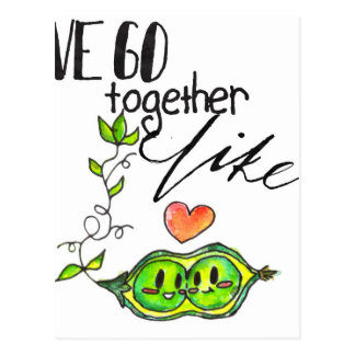 We Go Together like Peas in a Pod Postcard