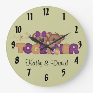 We Go Together Peanut Butter and Jelly Bears Large Clock