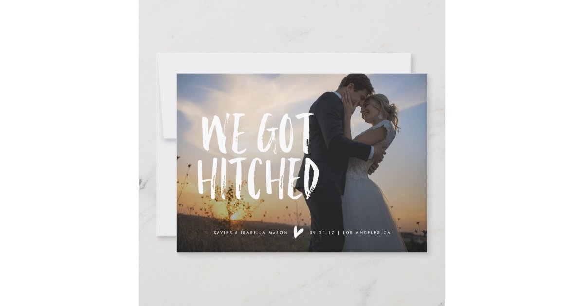 Hitched Wedding Invitations: We Got Hitched Wedding Announcement