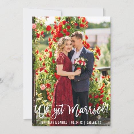 We Got Married Brush Script Photo Announcement