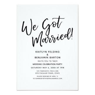 """We Got Married!"" Casual Script Wedding Reception Card"