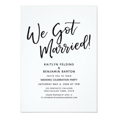 we got married modern script wedding reception invitation zazzle com