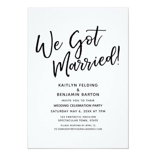 we got married casual script wedding reception invitation zazzle com