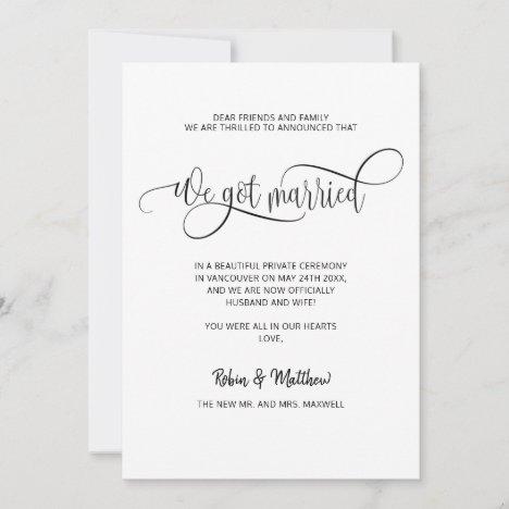 We got Married, Elegant Modern Married Wedding Announcement