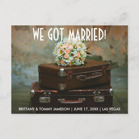 We got married elopement announcement postcard