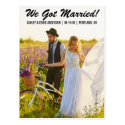 We got married elopement announcement postcard B