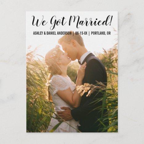 We got married elopement announcement postcard BT