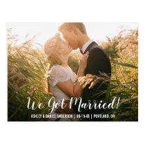 We got married elopement announcement postcard WB