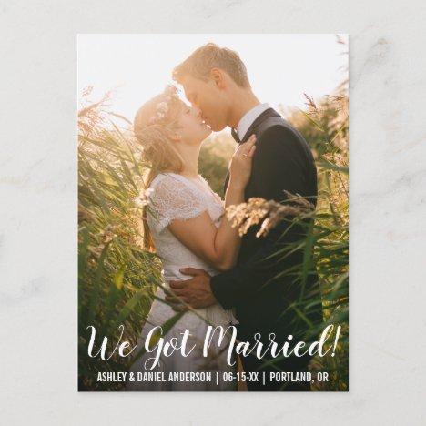 We got married elopement announcement postcard WL