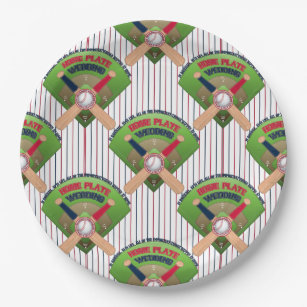 We got Married Home Plate Baseball 4-PAPER PLATES  sc 1 st  Zazzle & Baseball Themed Supplies Plates | Zazzle