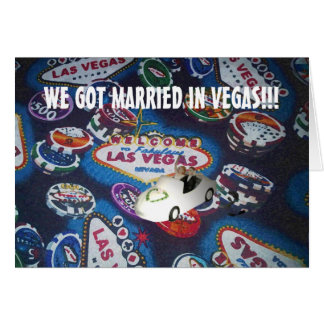 WE GOT MARRIED IN VEGAS!!! BRIDE & GROOM DRIVING A GREETING CARD