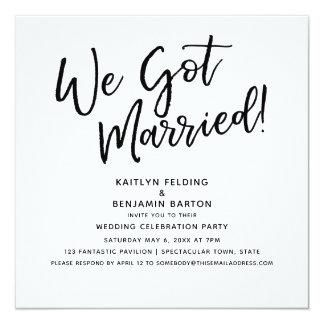 """We Got Married!"" Modern Script Wedding Reception Card"