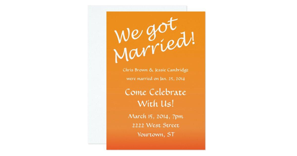 Wedding Celebration Invitation: We Got Married! Post Wedding Party Invitation