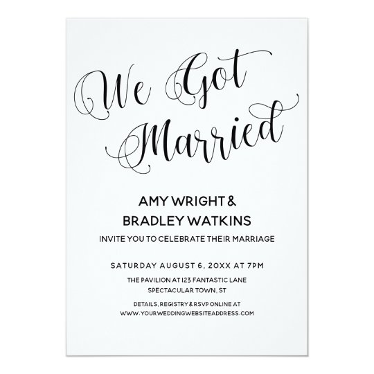 Wedding Reception Only Invitations: We Got Married Post-Wedding Reception Only Invitation