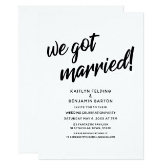 """We Got Married!"" Script Wedding Reception Event Card"