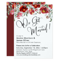 We Got Married Typography Burgundy Red Flowers Invitation