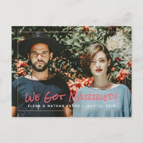 """""""We Got Married"""" Wedding Announcement Postcard"""