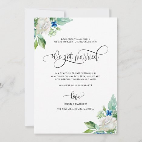 We got Married, White Floral Married Wedding Announcement