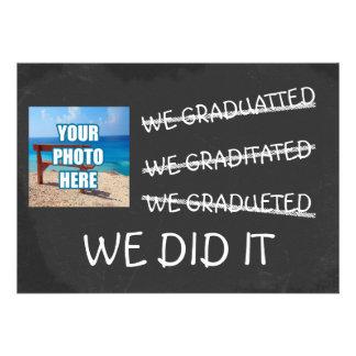 We Graduated Funny Misspelling Humor Chalkboard Invites