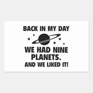 We Had Nine Planets Rectangular Stickers