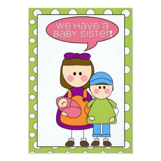 we have a baby sister! (siblings) annoucement 5x7 paper invitation card