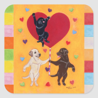 We Have a Big Heart Labradors Painting Mosaic Square Sticker