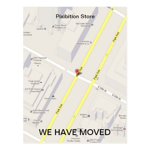 We Have Moved Add Map Postcard